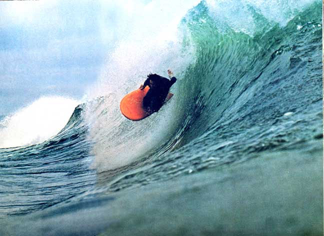 Steve Lis dropping into Big Rock on a Fish. Lis made these boards for thick barrels. Photo Bolster